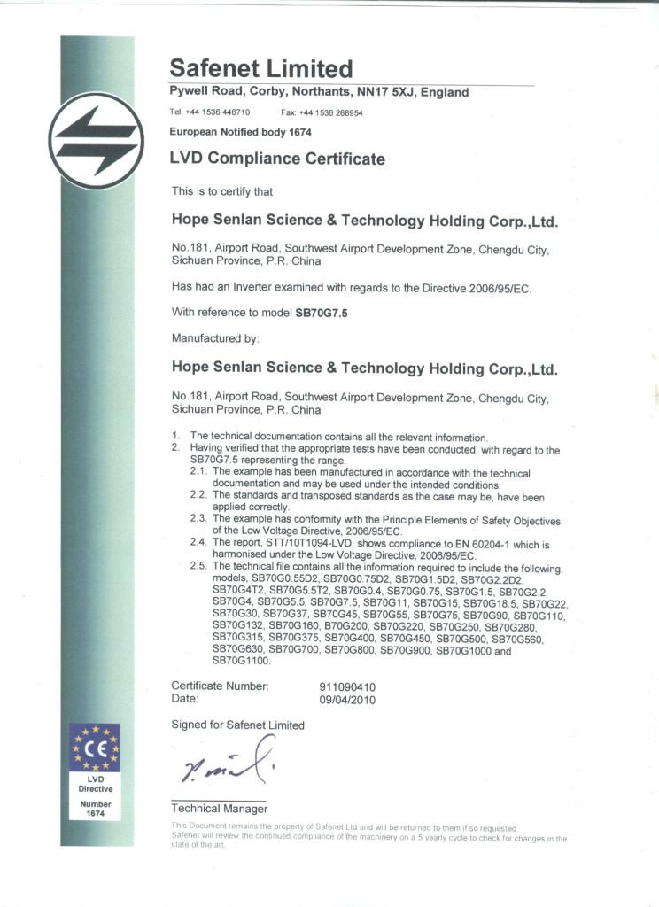 LVD Certificate SB70